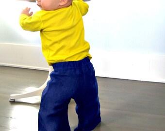 wide leg trousers baby - cobalt blue - unisex boy/girl pants - modern trousers - SALE