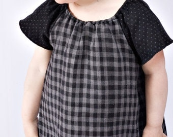 greta dress - baby up to 2T - black/grey check - modern frock - organic/recycled cotton - SALE