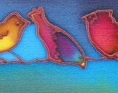 three little birds hand painted silk card