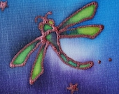 dragonfly hand painted silk card