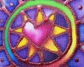 heart mandala hand painted silk card