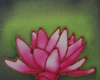 water lily hand painted silk card