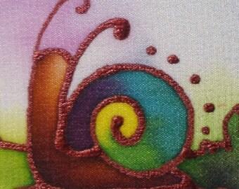 rainbow snail hand painted silk card