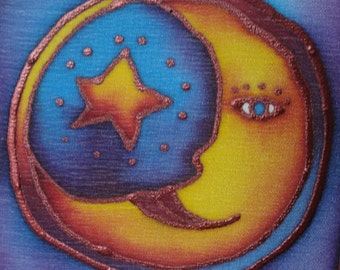 the other moon hand painted silk card