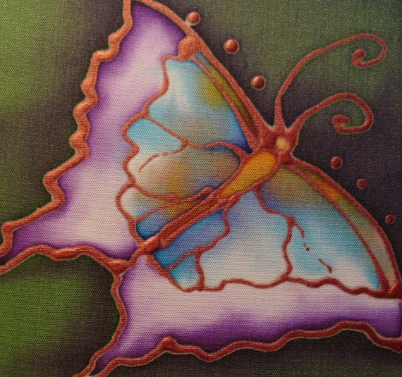 butterfly hand painted silk card