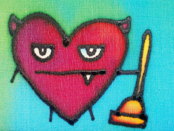 toilet plunger monster hand painted silk card