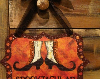 Wall Sign, Halloween Glittery Spooktacular Witchy Shoe Orange and Black Wall or Door Hanging Sign