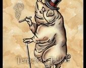 "Ham Day ""Gunter"" Portly Business Pig 12x16 Print"