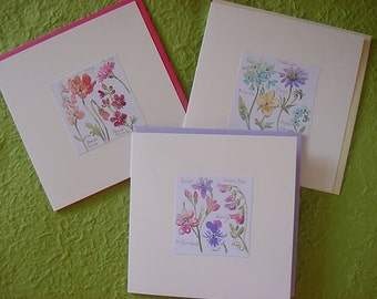 Set of 3 Hand-painted Floral Greeting Cards
