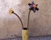 Yellow Metal Art Vase, Industrial Decor