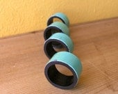 Industrial Turquoise Metal Napkin Holders, Set of Four