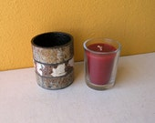 White and Dusty Gold Metal Industrial Votive Holder - Rustic Home Decor