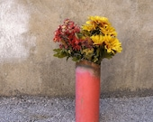 Pink Metal Art Vase, Industrial Decor - Flower Vase