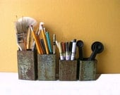 Industrial Utensil Holder, Sea Green Upcycled Metal Pipe Container - office and kitchen organizer