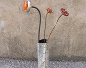 RESERVED - Recycled Art Vase, Industrial Decor - Crushed White Metal Pipe