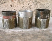RESERVED for Basyl.  Three Metal Candle Holders  - Industrial Decor, Upcycled Home Decor