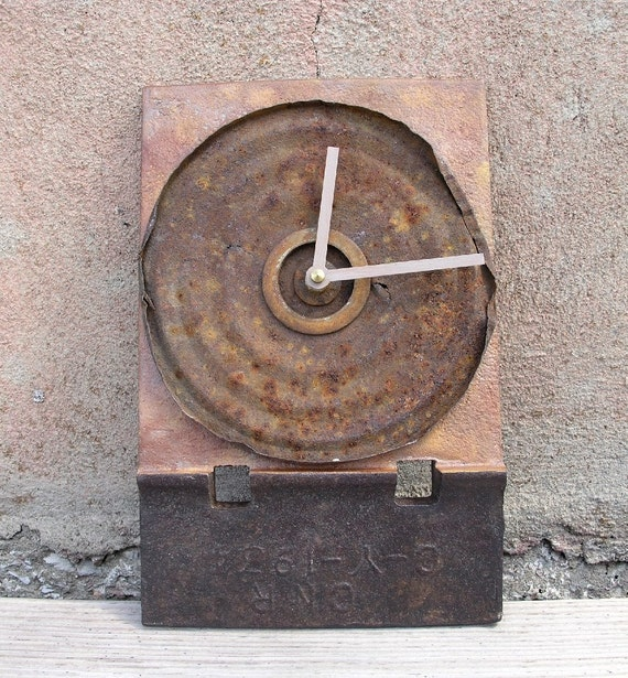 Found Object Metal Clock, Industrial Home Decor, brown orange rusty - quartz clock