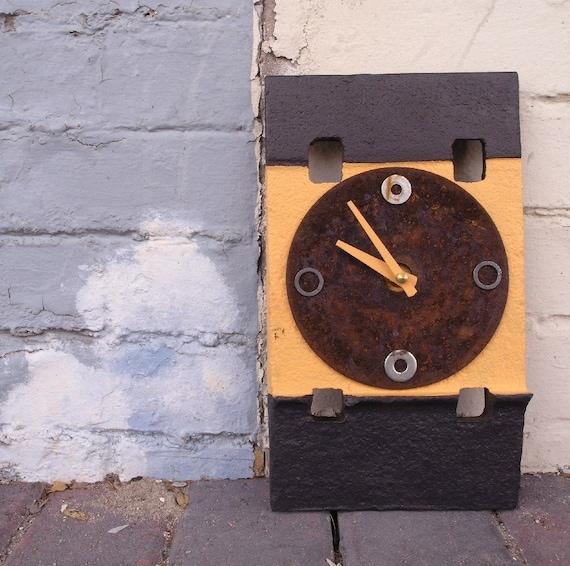 Contemporary Wall Clock - Contemporary Wall Clock - Found Object Metal Art - Industrial Home Decor,peach, rust, navy blue - quartz clock