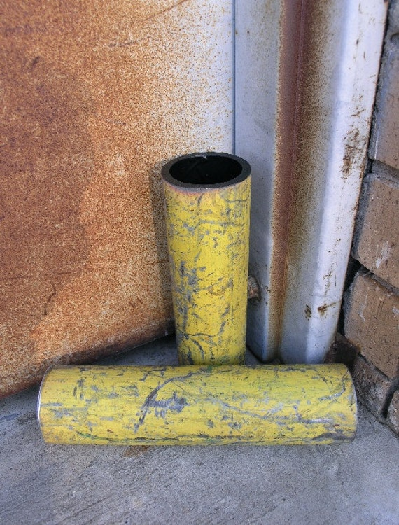Pair of Metal Art Vases, Industrial Decor