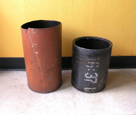 Steampunk Trash Can Or Planter Container Black White
