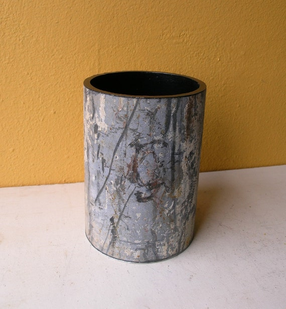 Reserved for Donna - Round Metal Vase, Industrial Decor