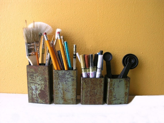 Industrial Utensil Holder, Sea Green Upcycled Metal Pipe Container - pen holder - kitchen utensil holder