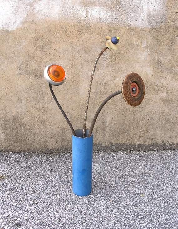 Tall Metal Blue Vase, Cylinder Shaped Industrial Home Decor
