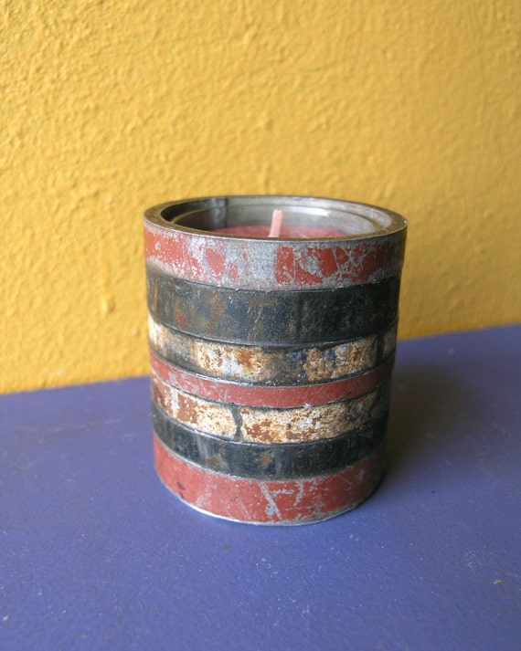Red Metal Candle Holder  - Industrial Decor, Upcycled Home Decor