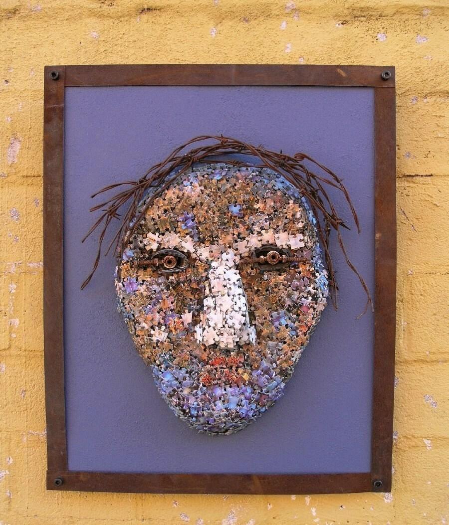 Mixed Media Art Wall Sculpture Art Assemblage Metal Wood