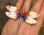 CIJ Dragonfly HUGE Fashion Costume Ring - Up-cycled Pin - Adjustable Size - R12CT FREE Shipping