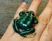 Frog Toad HUGE Fashion Costume Cocktail Ring - Up-cycled Pin - Adjustable Size - R11CT FREE Shipping