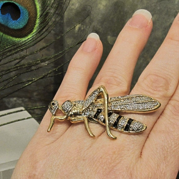 CIJ Wasp Hornet Bee HUGE Fashion Costume Cocktail Ring - Up-cycled Pin - Adjustable Size - R11CT FREE Shipping