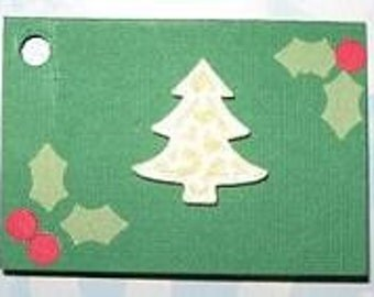 Christmas tree and Holly Leaves Gift Tag