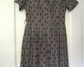 1950s/60s printed day dress SM - ON HOLD