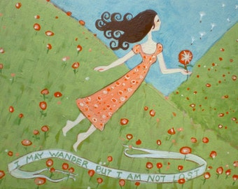 Flying Girl Off the Path, or I May Wander but I Am Not Lost (limited edition print) 8/50
