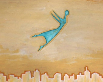 Flying Girl in A Strange Land, or Yellow Sky, limited edition print 2/50