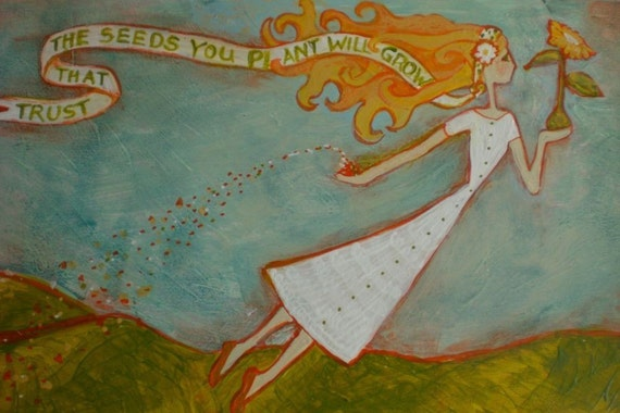 Flying Girl Lets Go, or Trust That The Seeds You Plant Will Grow, limited edition print- 15/50