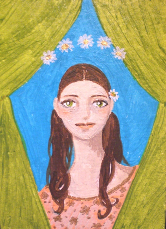 Girl of the Wildflower, Original OOAK ACEO