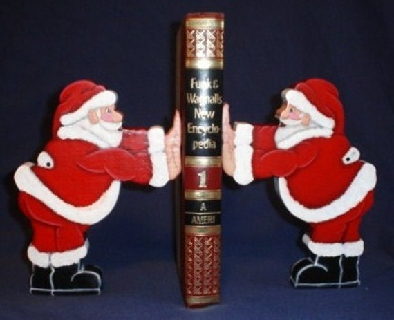 Santa Claus Bookends Christmas Crafts Wooden Bookends Santa
