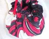 Jewelry Pouch, Retro Fabric, Red, Black, White, Drawstring Bag