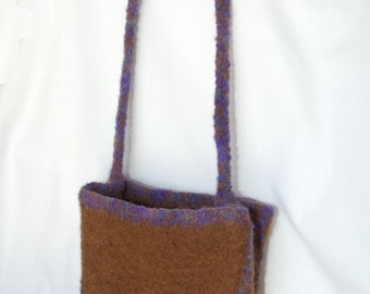 Brown and Purple Felted Purse