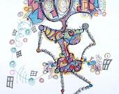 Simply Fab - Stick People Modern Art - Drawing by Kim Dean 11 x 14
