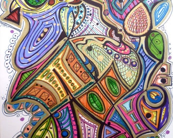 Hidden - 9x12 - Original Modern Abstract Art by Kim Dean
