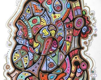 Deep Mood - Modern Abstract Drawing - Art by Kim Dean 11 x 14