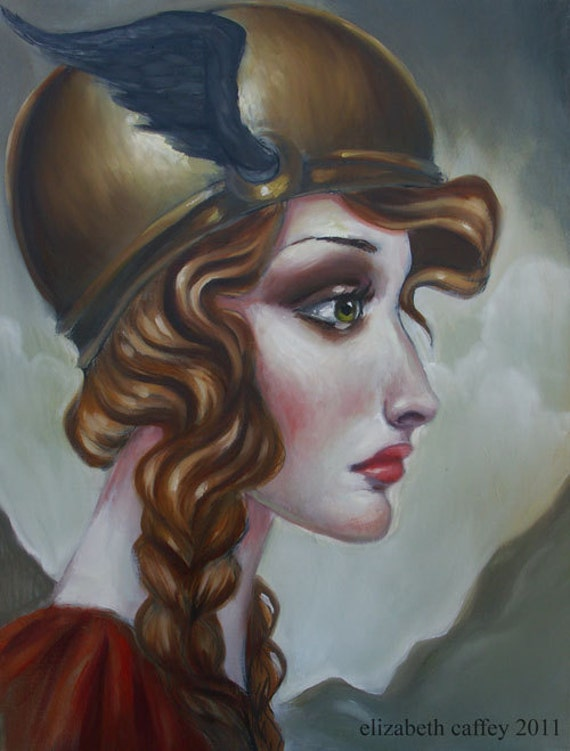 Valkyrie by Elizabeth Caffey One of a kind original oil painting on stretched canvas, Norse mythology