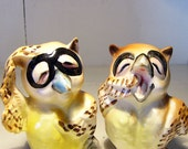 SALE Vintage 50's Owl Salt and Pepper Shakers