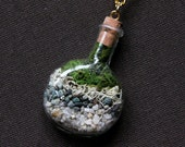 Miniature Terrarium Necklace with aquamarine stones  - Moss, Vial