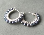 Raven wing freshwater pearl small hoop earrings