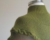 Hand Knitted Knitting Green Capelet Cowl Neckwarmer