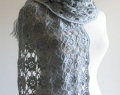 GREY SHAWL CROCHET SCARF COOL RECTANGLE QUALITY CROCHETED WITH MOHAIR MIX YARN FALL AUTUMN WINTER